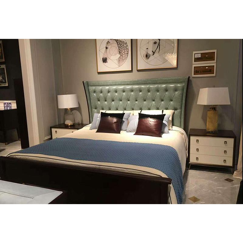 美特屋 美式实木床简美真皮双人床轻奢卧室家具婚床主卧床A801-19