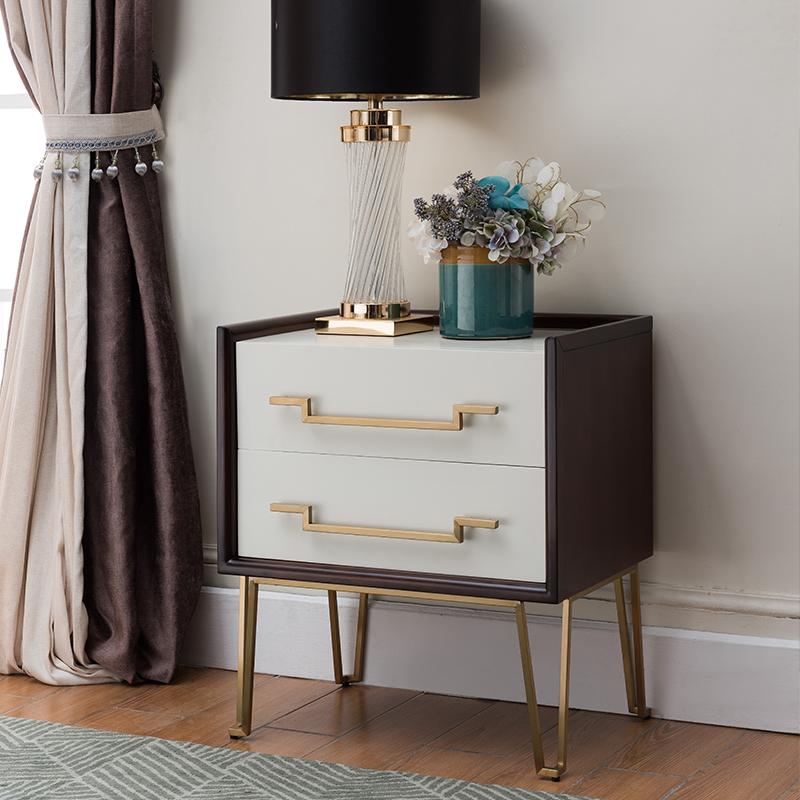 美特屋 简美床头柜美式实木卧室床前柜轻奢风格卧室床边柜B801-12