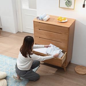 榆柳轩日式实木五斗柜卧室储物柜简约北欧原木橡木斗柜子客厅家具