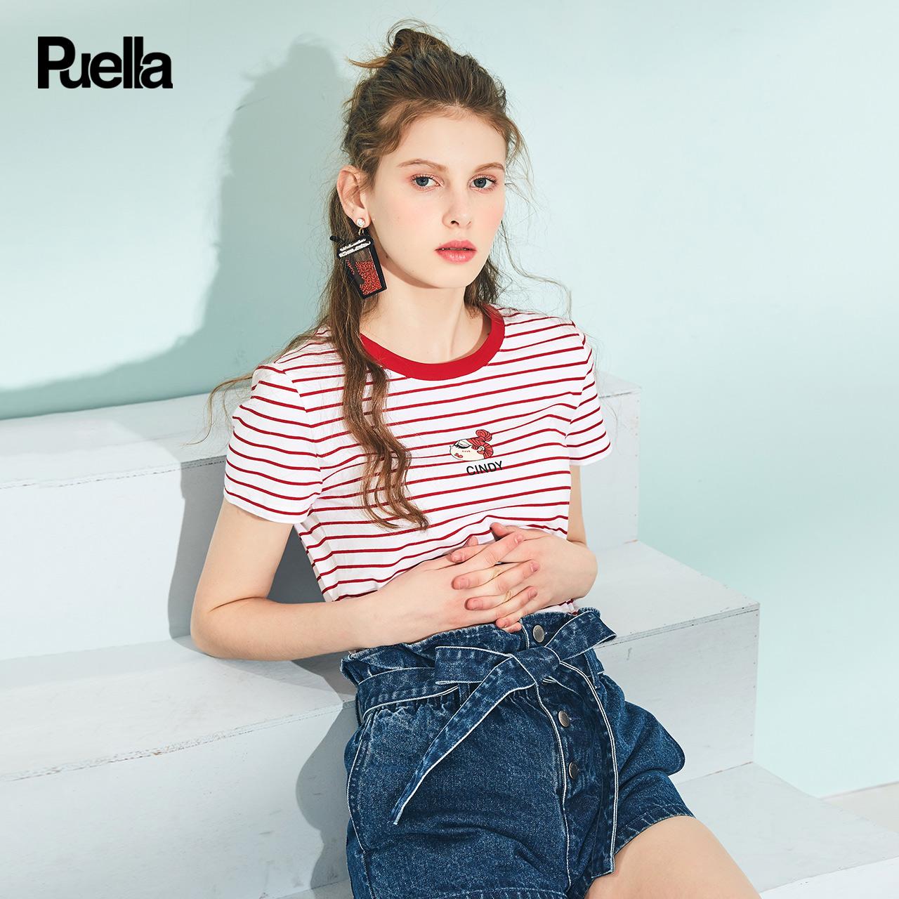 条纹t恤女2018夏季新款韩版显瘦圆领百搭印花少女潮纯棉短袖上衣