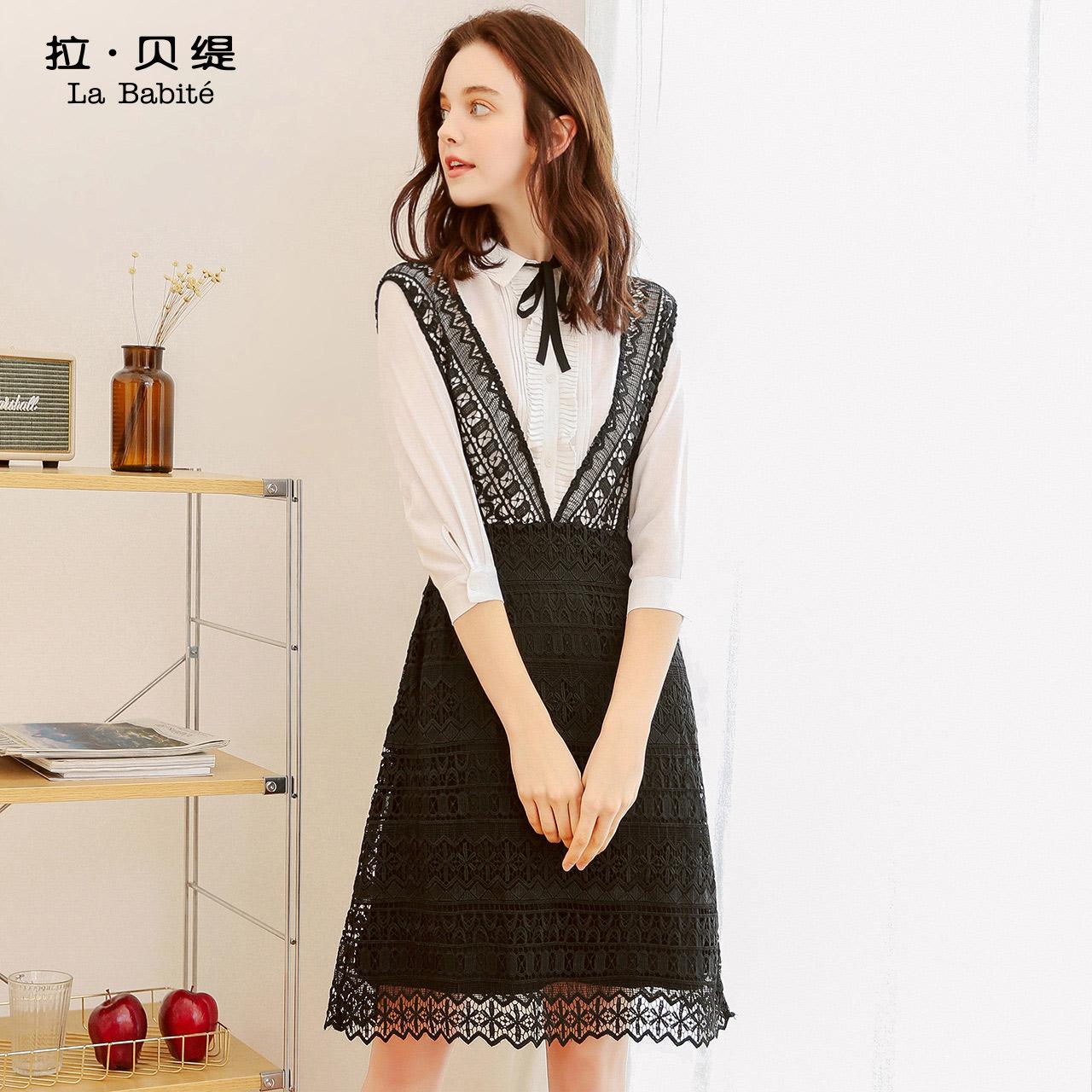 休闲蕾丝裙子女夏装2018新款气质两件套名媛雪纺甜美时尚气质套装