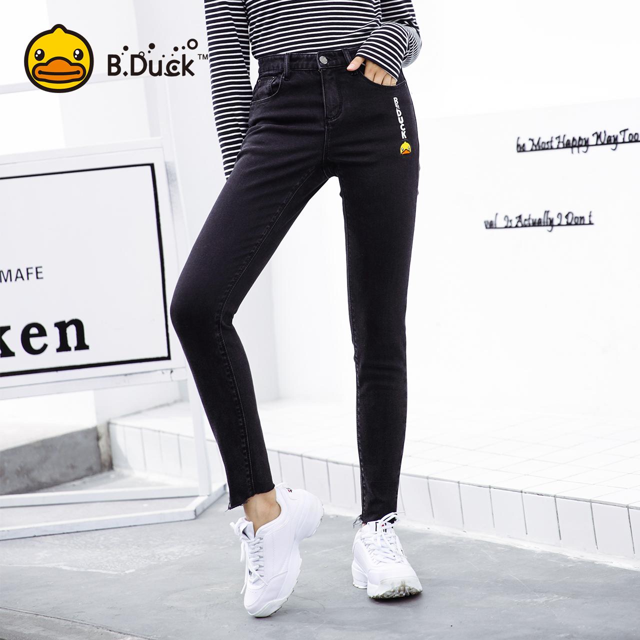 B.Duck小黄鸭女装2018秋季新款修身高腰显瘦牛仔裤女小脚裤长裤子