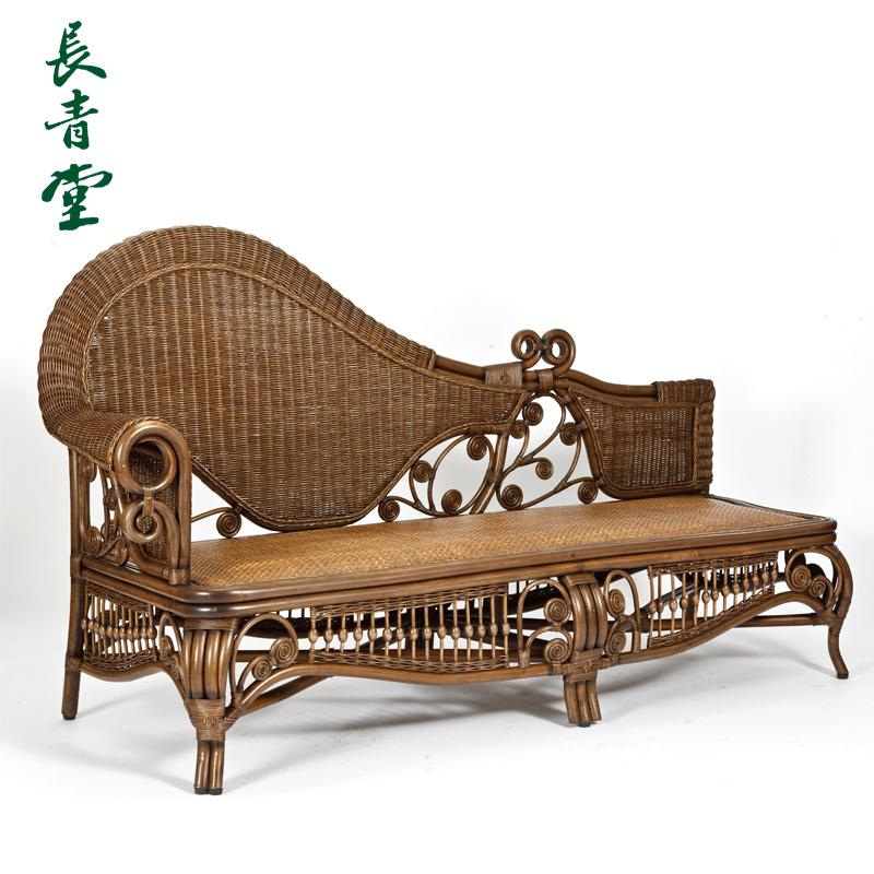长青堂藤艺贵妃椅贵妃床藤编实木躺椅躺床沙发单人懒人藤椅美人榻