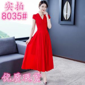 2020新款流行夏季沙滩裙子红色雪纺连衣裙女长款修身显瘦长裙...