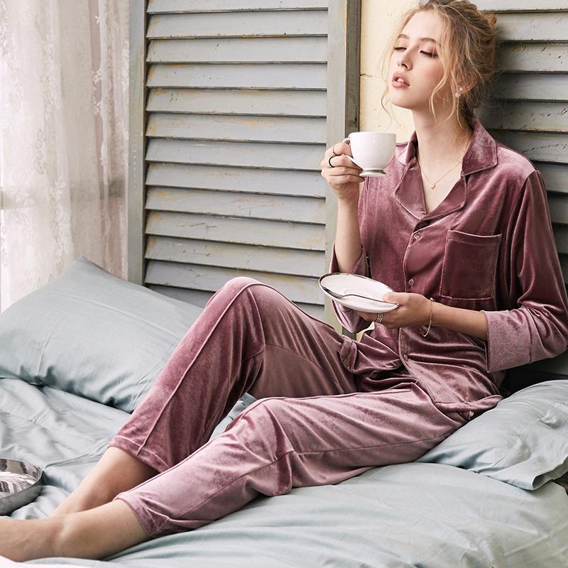 佩莎缇睡衣女士秋季天鹅金丝绒长袖