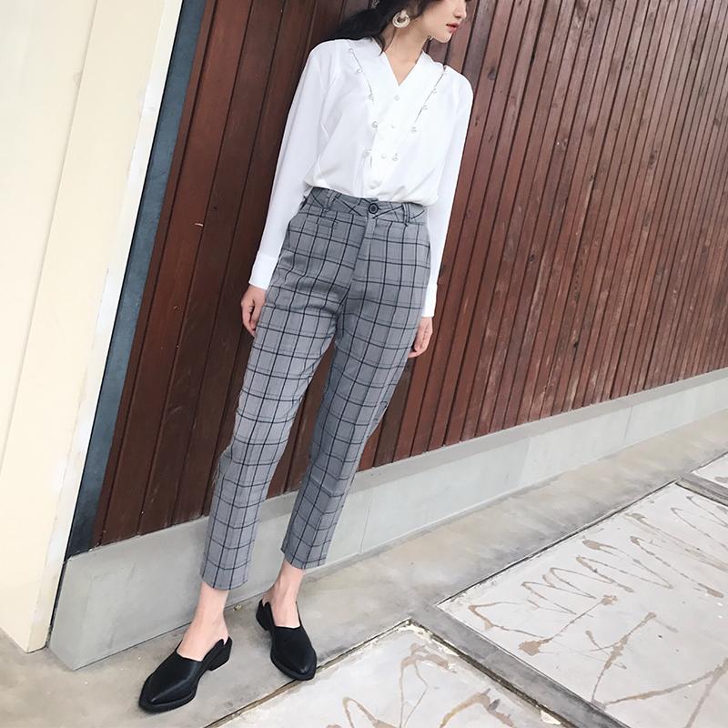 艺米YIMI  2017秋季韩版格子休闲裤女西装裤直筒裤学生九分裤潮