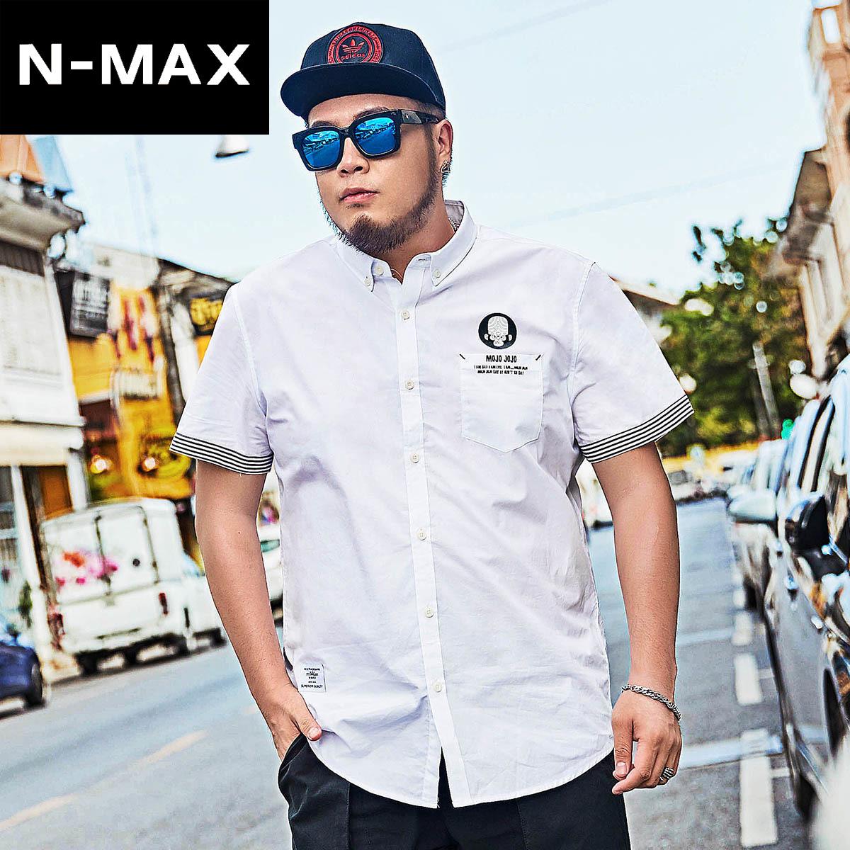 NMAX大码男装潮牌 潮胖子宽松纯棉短袖衬衫 加肥加大半袖翻领衬衣
