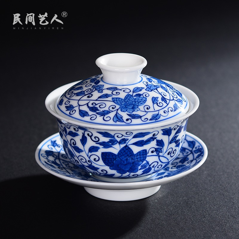 Jingdezhen hand - made tureen medium only three cup bowl of blue and white porcelain ceramic kung fu tea tea bowl of tea cups