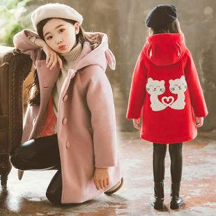 女童呢子外套中长款儿童毛呢大衣2019新款洋气童装中大童呢大衣冬