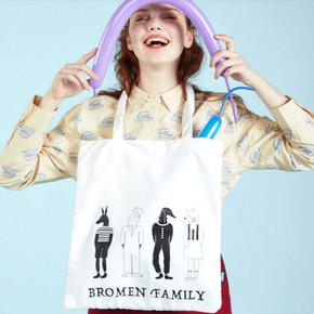 不莱玫2019新款包包女手提包学生韩版日系ins卡通帆布包帆布袋