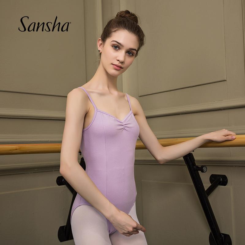 Sansha 法国三沙成人练功服女芭蕾舞吊带连体服舞蹈演出比赛服