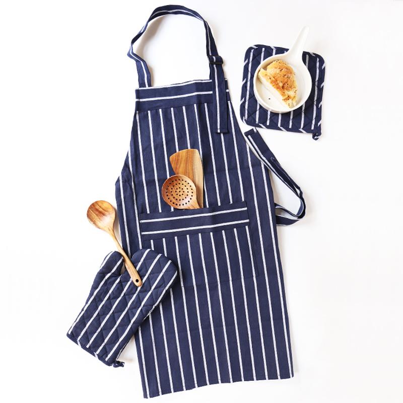 舍里_舍里 日式和风深蓝文艺素色隔热锅碗垫防烫手套围裙桌布厨房用品