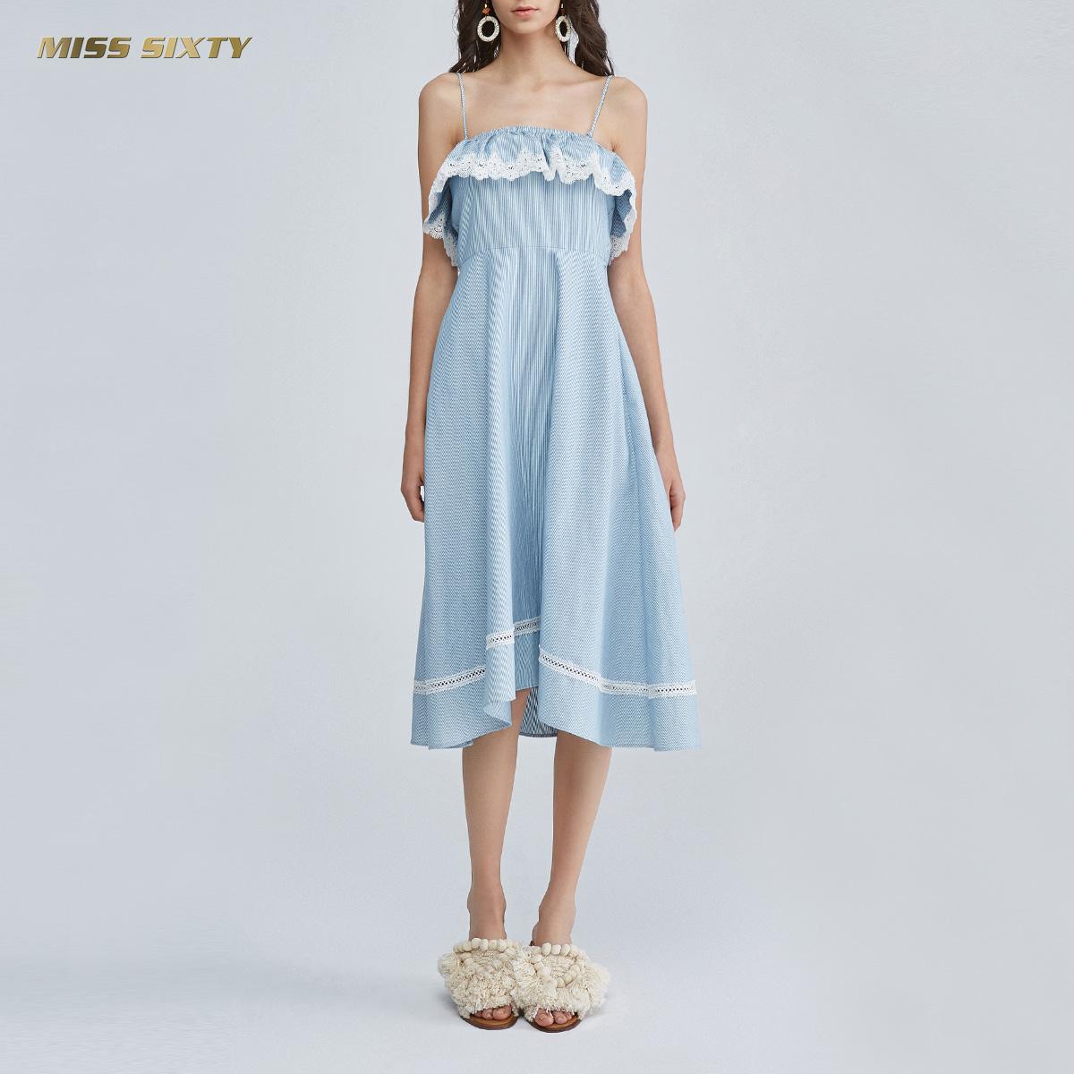 C Miss Sixty2018新款夏季纯棉条纹无袖牛仔连衣裙女682DJ0570000
