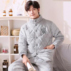 三层夹棉睡衣男冬季加厚加绒大码冬天保暖长袖男士家居服潮青少年