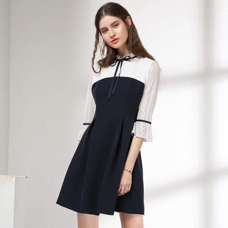 百图七分袖连衣裙女中长款显瘦收腰撞色裙2018秋装新款1802T69