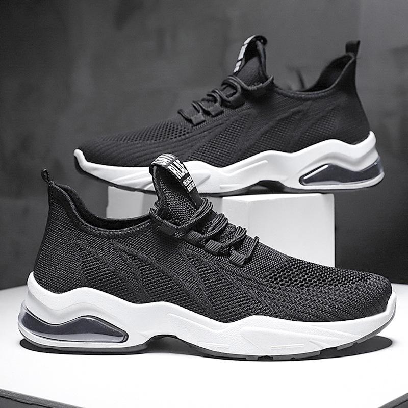 2020春夏季新款系带跑步鞋软底舒适飞织气垫男鞋休闲百搭运动鞋1