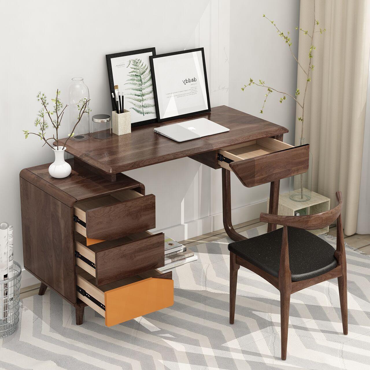 实木书桌简约电脑桌学生写字桌卧室书房桌子家用成人办公桌写字台