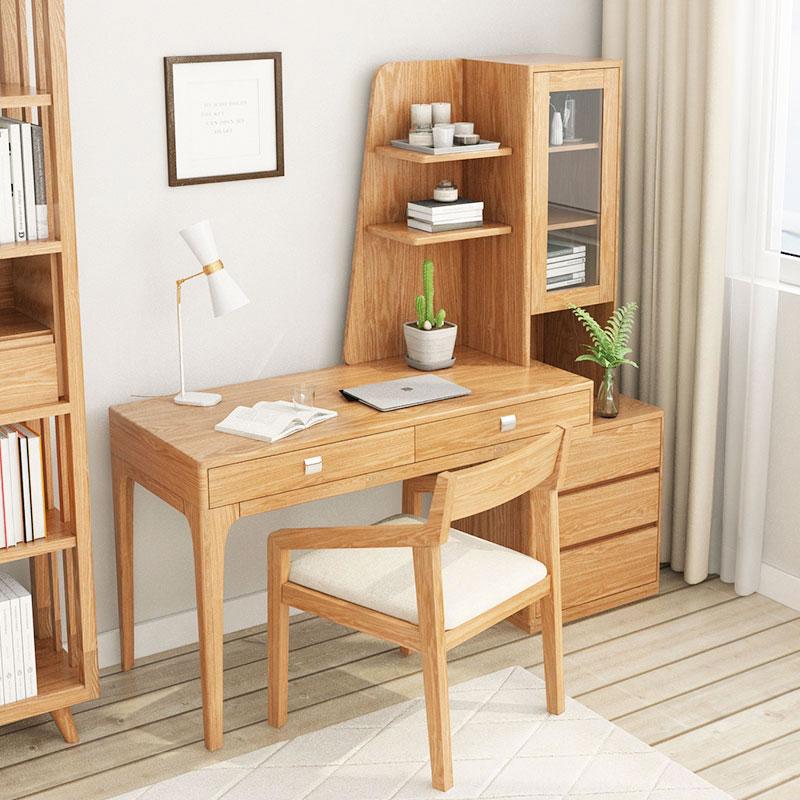 实木书桌书架组合简约亚洲AG集团卧室桌子电脑台式桌学生写字台书柜一体