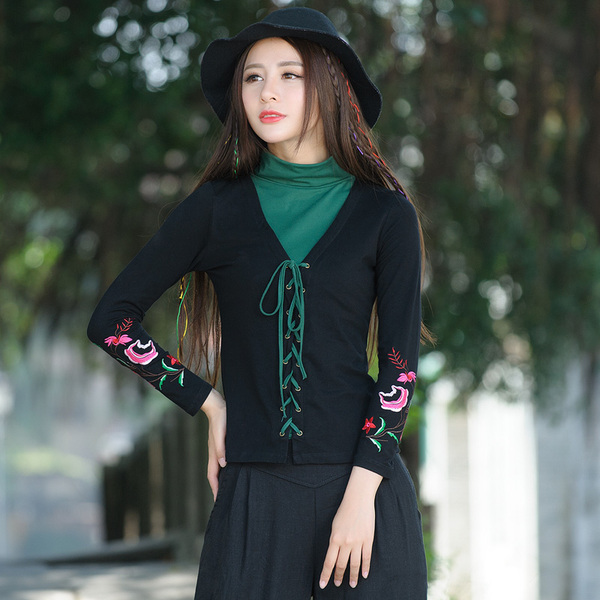 Real Shot autumn retro embroidered long-sleeved T-shirt high collar bottoming shirt