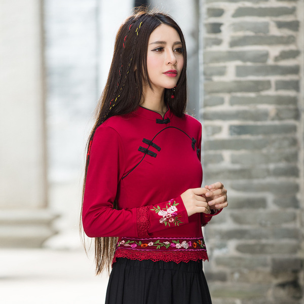Real shot autumn national style retro embroidery flower t-shirt long-sleeved short Chinese style Tang suit cheongsam top