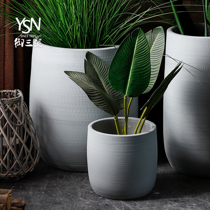 Ceramic green plant hydroponic indoor plant decoration large caliber cylinder Nordic flowerpot I and contracted vase imitation cement color