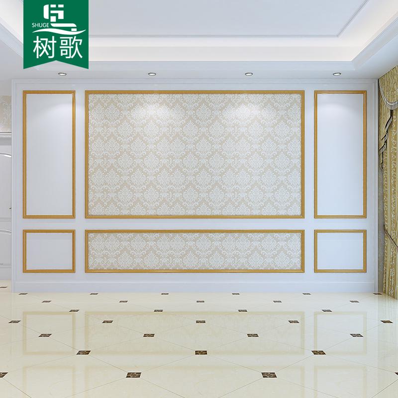 美式实木电视背景墙欧式客厅沙发墙装饰板金色定制护墙板背景墙