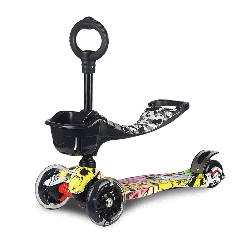 迷彩多功能三合一儿童滑板车4四轮可坐摇摆男女宝宝岁踏板车_不打折