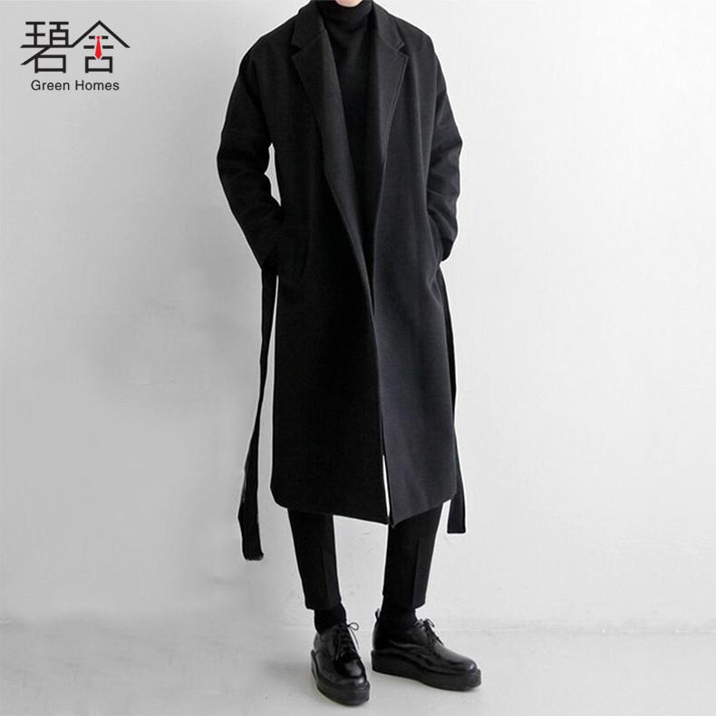 碧舍冬季日系过膝呢大衣加厚中长款毛呢大衣男韩版呢子风衣外套潮