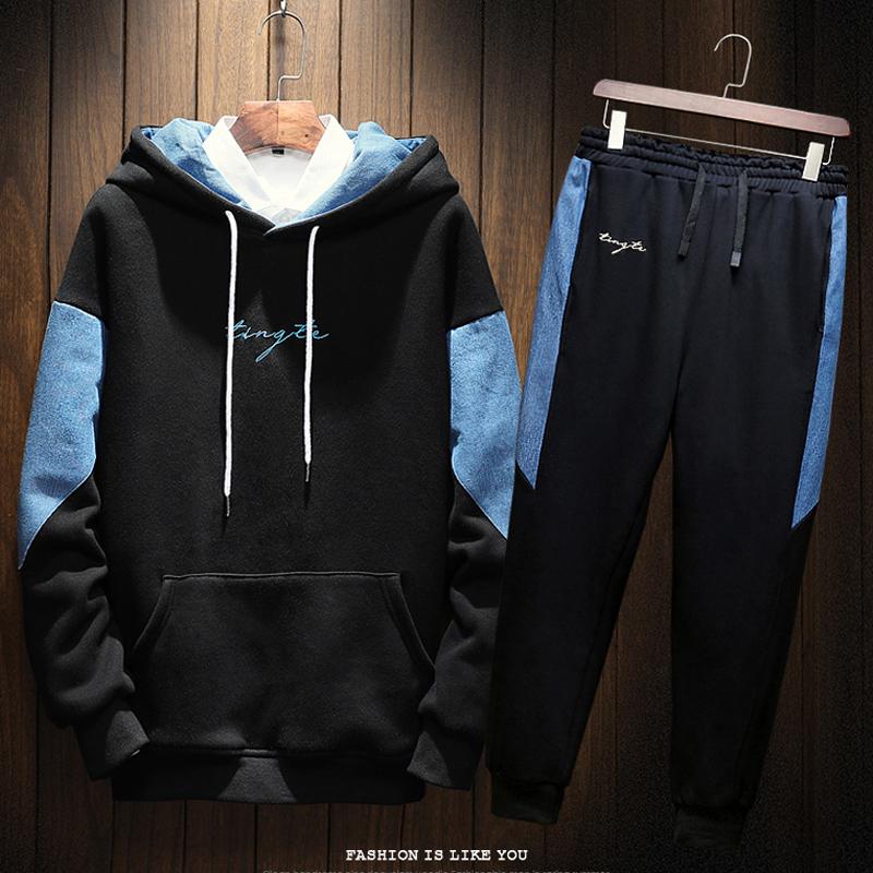 秋季男士卫衣连帽韩版潮胖人两件套加肥加大码男衣服休闲运动套装