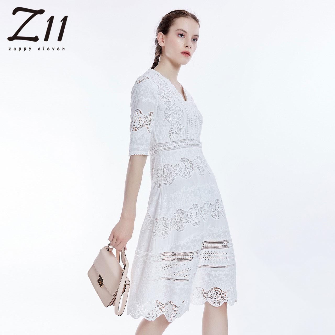 z11女装夏款套头V领中袖镂空蕾丝超仙中长款连衣裙Z17CH601