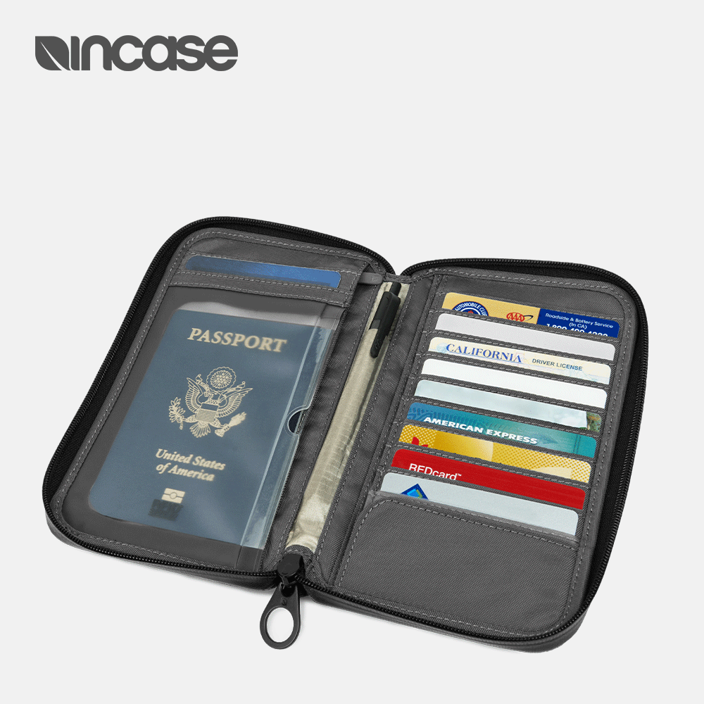 美国INCASE Passport Wallet防电子窃取拉链护照钱包多功能收纳包
