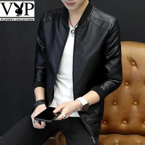 花花公子贵宾潮流韩版男士修身皮衣2020春夏青年百搭帅气机车外套