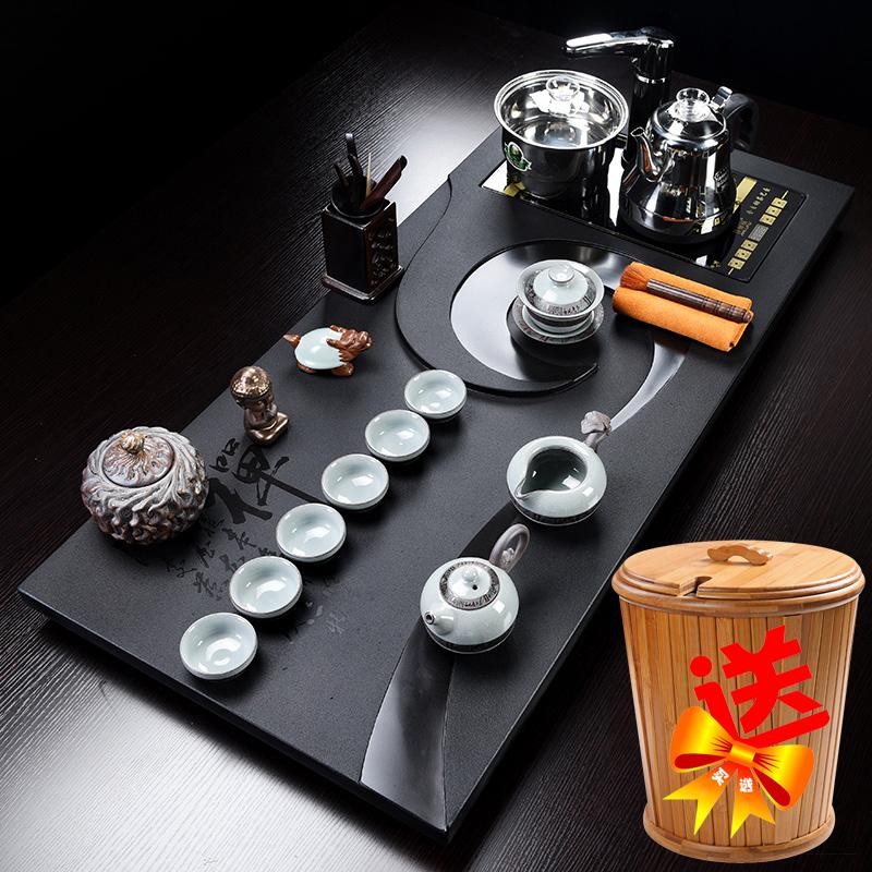整块天然乌金石茶盘全自动亚博体育ios官方下载功夫茶具套装简约四合一大号石茶台
