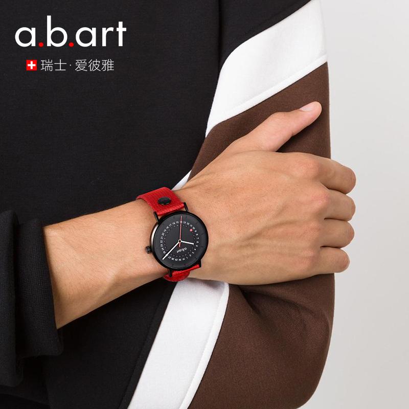 瑞士男表正品abart新品石英表日历女士名表红点奖男士腕表手表男