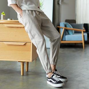 夏季薄款男士九分裤小脚束脚裤男哈伦裤休闲裤宽松韩版潮流收腿裤