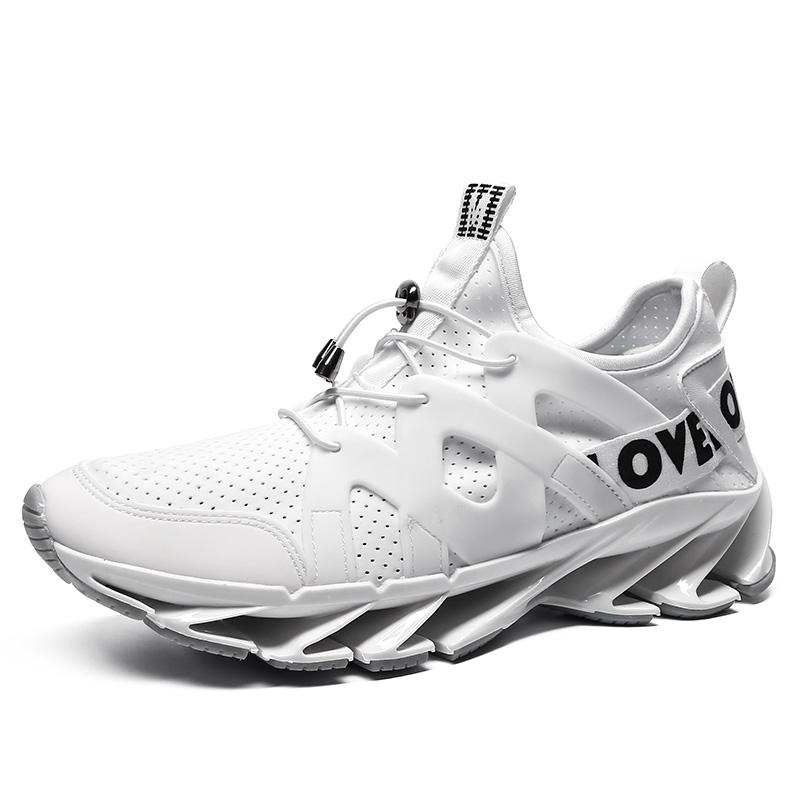 时尚跑鞋男秋季男鞋白鞋个性透气运动鞋子白色镂空潮鞋战士跑步鞋