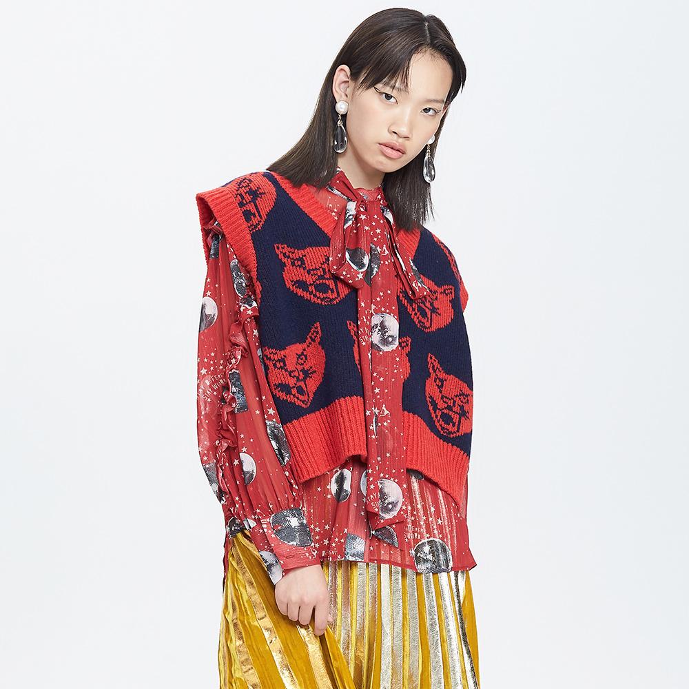 UOOYAA-乌丫2018新款专柜正品时髦豹子头图案复古红色针织毛衫