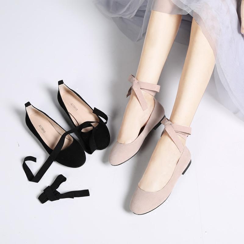 复古风圆头蝴蝶结绑带低跟单鞋女鞋真皮平底鞋芭蕾舞鞋百搭休闲鞋