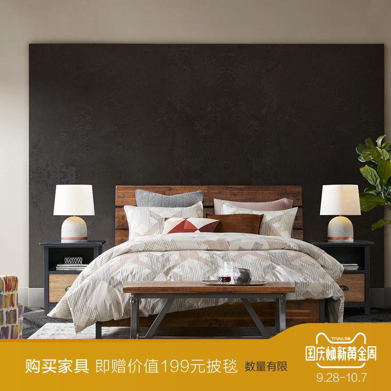 INK+IVY卧室家具双人床美式工业风进口实木床1.5m1.8米 Lancaster