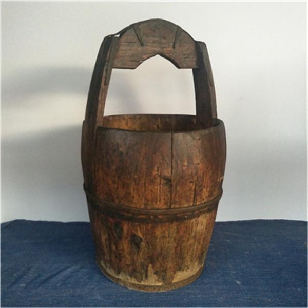 民俗老物件收藏怀旧杂项民国老式水桶老木桶旧农具木质农家院摆件图片