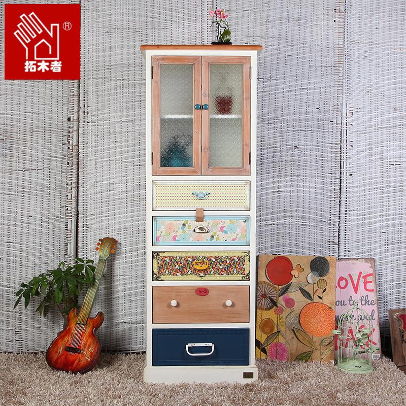 美式乡村复古角柜边柜带玻璃门田园储物斗柜大容量高柜收纳实木柜