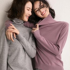 澜俪轩秋冬女式长袖内搭针织堆堆领毛衣女时尚针织衫大码毛衣打底