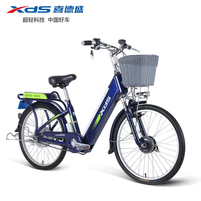 喜德盛电动车灵动9号铝合金电动自行车48V锂电车24寸电单车
