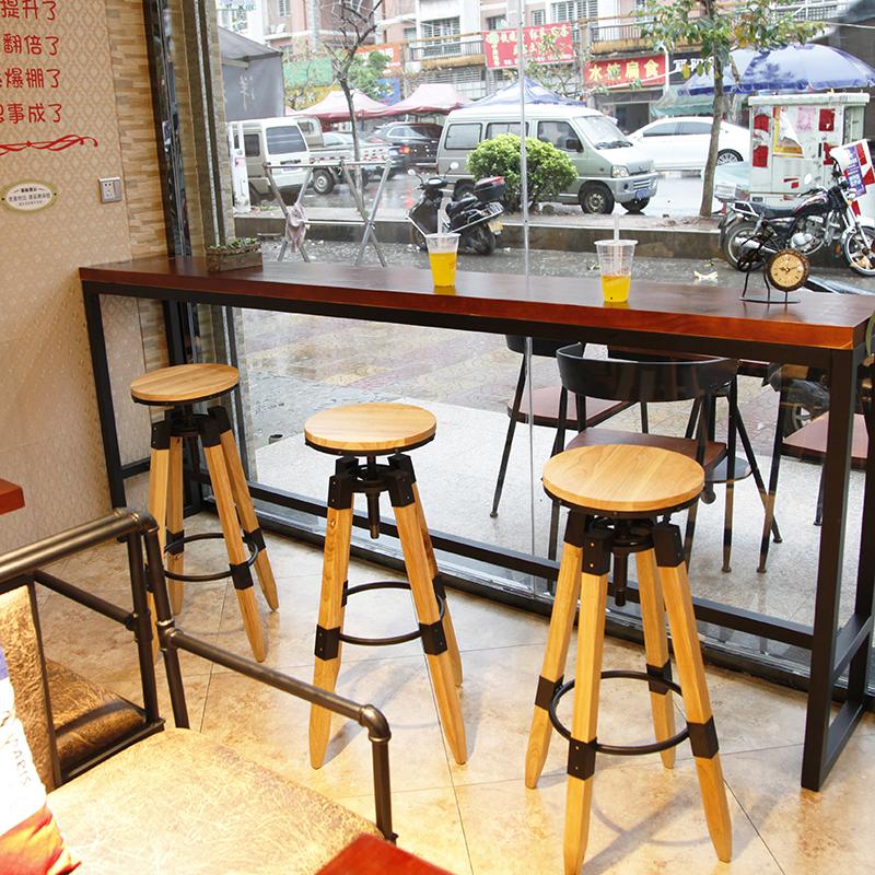 Барный стул Кованого железа бар стул лифтинг вращение бар табуретка твердой древесины лофт промышленные стиль высокий барный стул бар стол и стулья