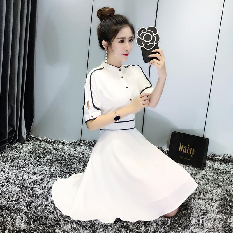 一字肩雪纺连衣裙女夏装2018新款韩版收腰显瘦气质心机裙子设计感