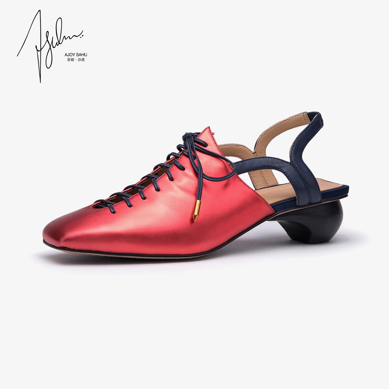 AJOY SAHU2018新款女鞋chic凉鞋女真皮女鞋镂空粗跟中跟包头鞋女