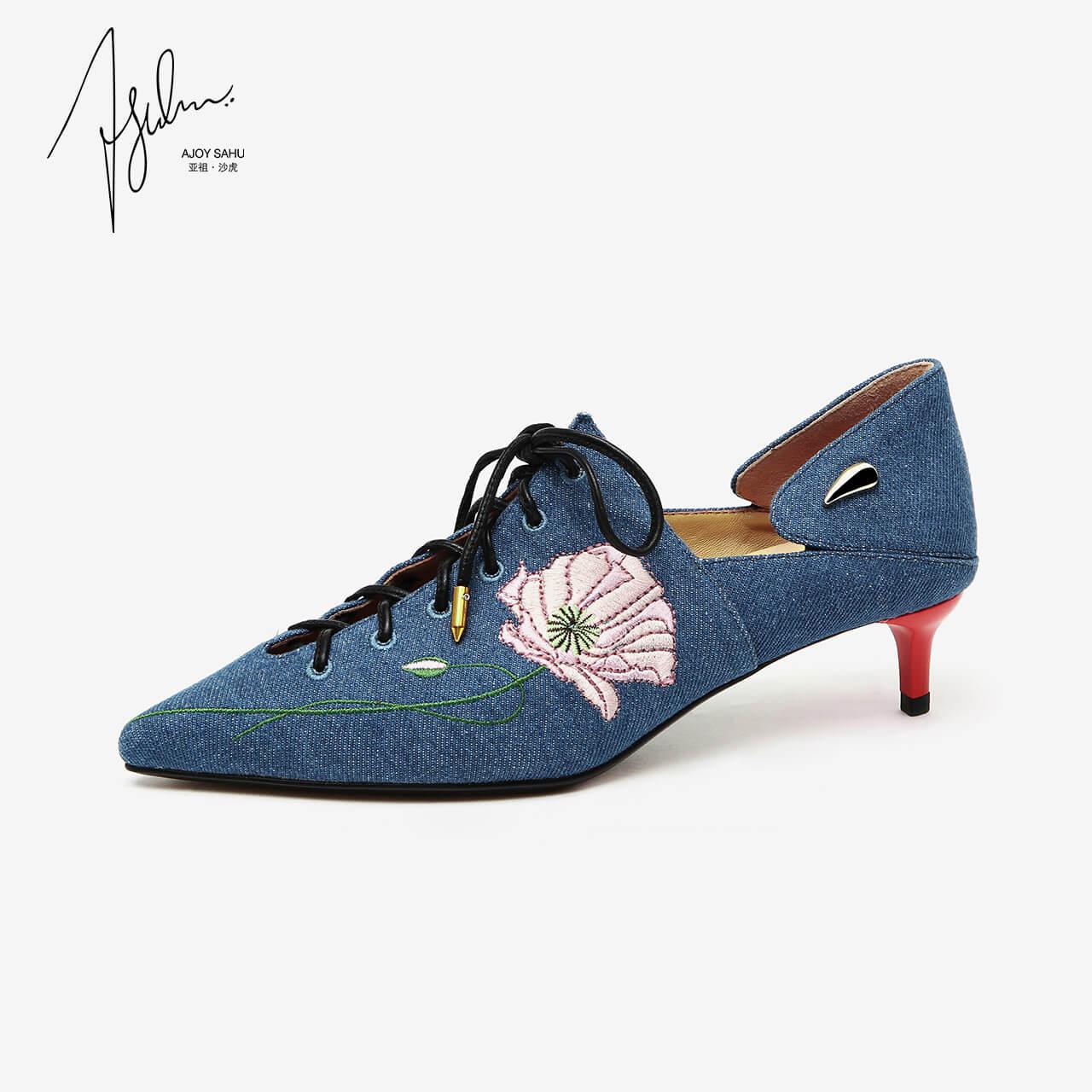 AJOY SAHU2018秋冬新款尖头玛丽珍小跟单鞋女高跟细跟鞋女猫跟鞋