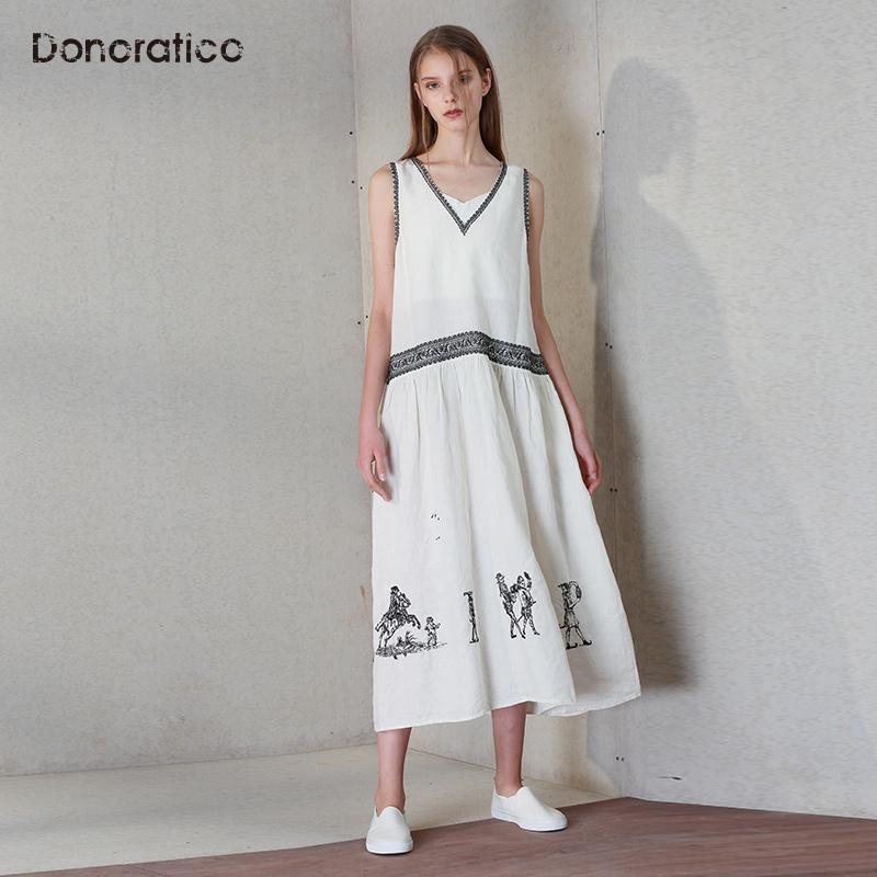 达衣岩女装2018夏季新品麻料优雅舒适无袖长款印花连衣裙中长裙女