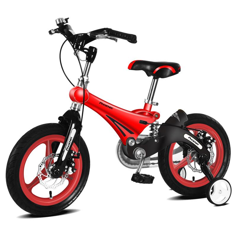 凤凰儿童自行车3-6岁小孩男女宝宝镁合金碟刹12-14-16寸脚踏车