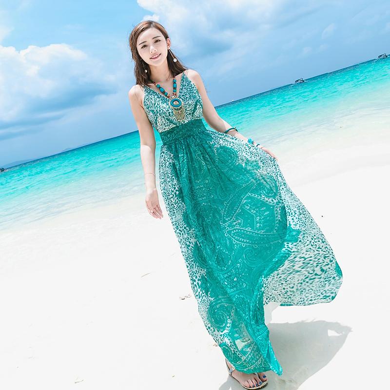 夏季新款吊带露背长裙绿色雪纺连衣裙波西米亚长裙海边度假沙滩裙